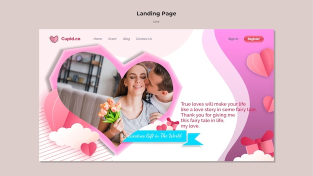 Cute couple landing page template