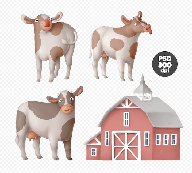 Cute cow characters clipart isolated