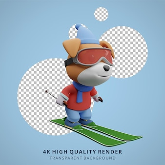 귀여운 강아지 스키 동물 3d 캐릭터 마스코트 그림