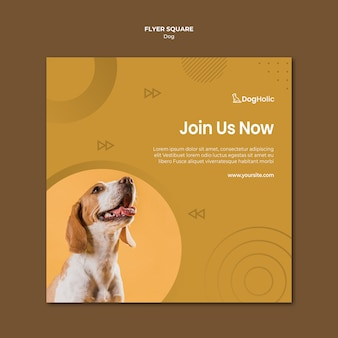 Cute dog square flyer design