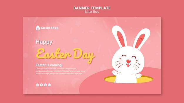 Cute easter day banner template