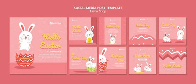 Cute easter day instagram posts template