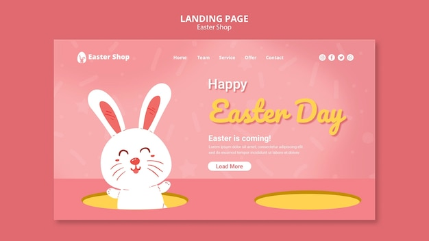 Cute easter day landing page template Free Psd