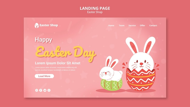 Cute easter day landing page template