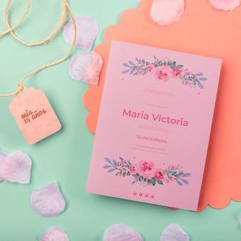 귀여운 15 생일 초대장 및 꽃잎