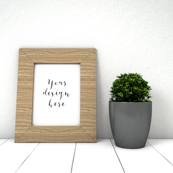 Cute frame mockup with plant