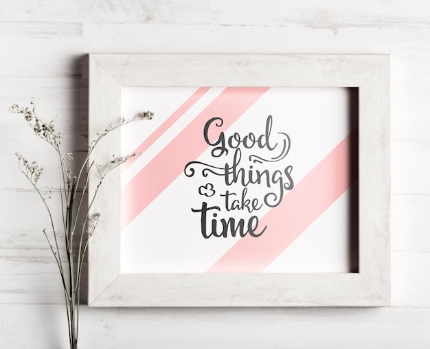 Cute frame with motivational quote