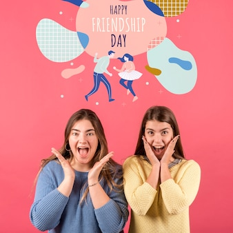Cute friends excited for friendship day