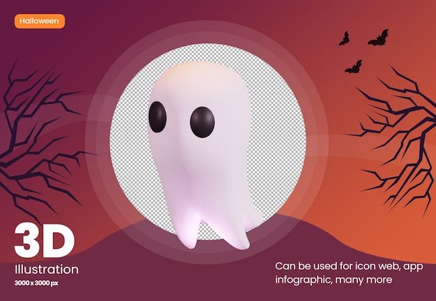 Cute ghost 3d illustration icon with halloween theme