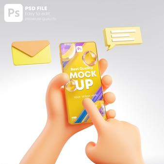 かわいい手を握って電話メッセージに触れるポップアップモックアップ3dレンダリング