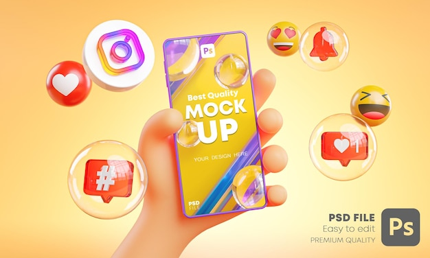 Cute hand holding phone instagram icons around 3d rendering mockup