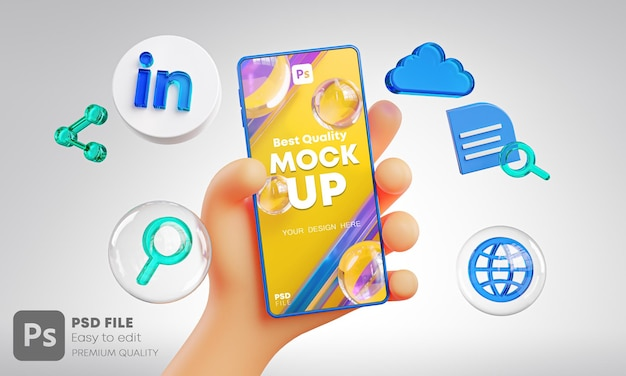 Cute hand holding phone linkedin icons around 3d rendering mockup
