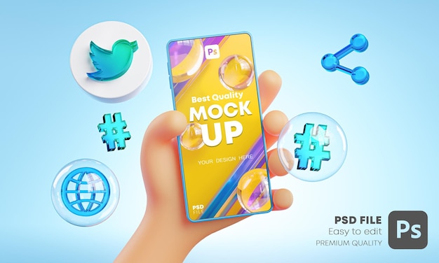 Cute hand holding phone twitter icons around 3d rendering mockup