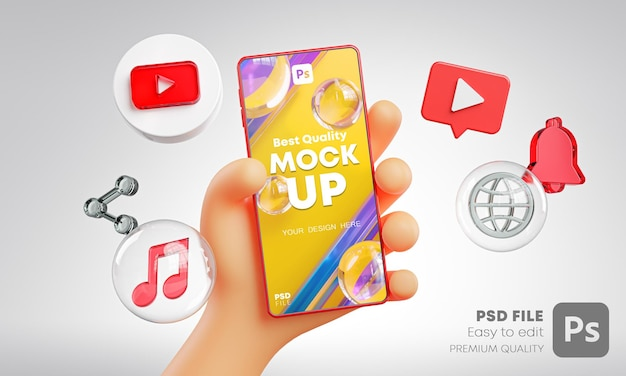 Cute hand holding phone youtube icons around 3d rendering mockup