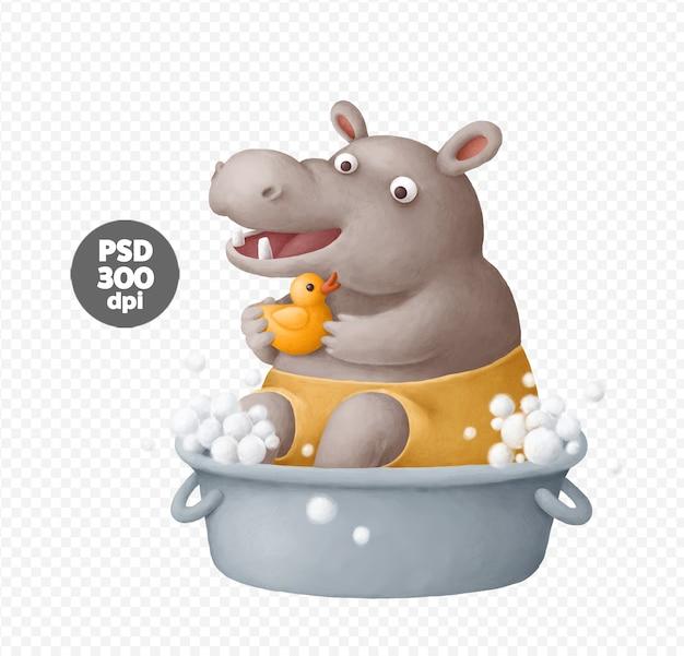 Cute hippo taking a bath illustrations