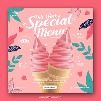 Cute ice cream menu promotion social media instagram post banner template