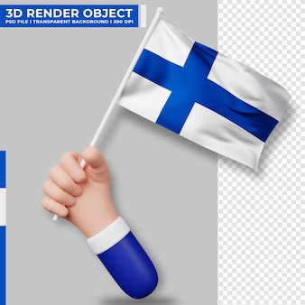 Cute illustration of hand holding finland flag. finland independence day. country flag.