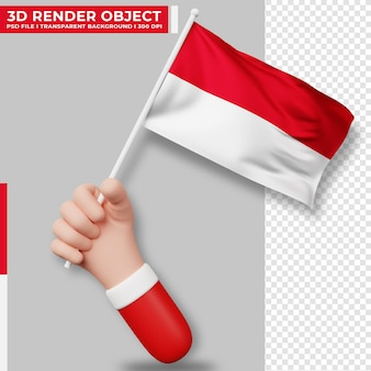 Cute illustration of hand holding indonesia flag. indonesia independence day. country flag.
