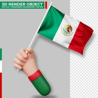 Cute illustration of hand holding mexico flag. mexico independence day. country flag.