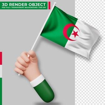 アルジェリアの国旗を持っている手のかわいいイラスト。アルジェリア独立記念日。国旗。