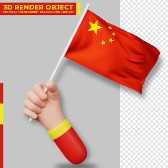 Симпатичная иллюстрация руки, держащей флаг китая. день независимости китая. флаг страны.