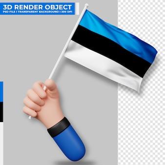 エストニアの国旗を持っている手のかわいいイラスト。エストニア独立記念日。国旗。