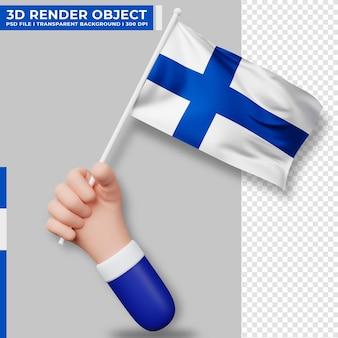 フィンランドの国旗を持っている手のかわいいイラスト。フィンランド独立記念日。国旗。