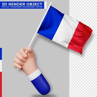 Милая иллюстрация руки, держащей флаг франции. день независимости франции. флаг страны.