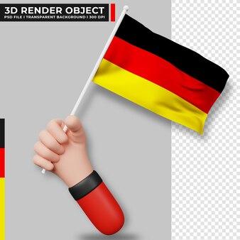 Милая иллюстрация руки, держащей флаг германии. день независимости германии. флаг страны.