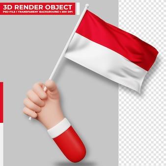 인도네시아 국기를 들고 있는 손의 귀여운 삽화. 인도네시아 독립 기념일. 국가 플래그입니다.