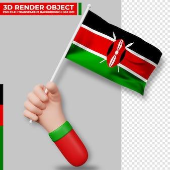 ケニアの国旗を持っている手のかわいいイラスト。ケニア独立記念日。国旗。