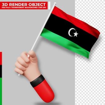 リビアの国旗を持っている手のかわいいイラスト。リビア独立記念日。国旗。