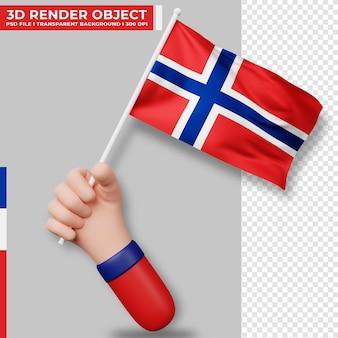 노르웨이 국기를 들고 있는 손의 귀여운 그림. 노르웨이 독립기념일. 국가 플래그입니다.