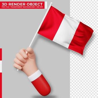 페루 국기를 들고 있는 손의 귀여운 그림. 페루 독립기념일. 국가 플래그입니다.