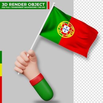 포르투갈 국기를 들고 있는 손의 귀여운 그림. 포르투갈 독립 기념일. 국가 플래그입니다.
