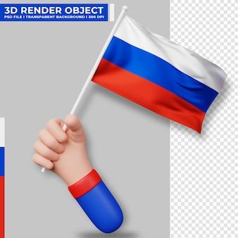Симпатичные иллюстрации руки, держащей флаг россии. день независимости россии. флаг страны.