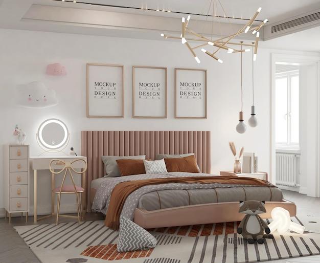 モックアップポスター3dレンダリングとかわいい子供の寝室