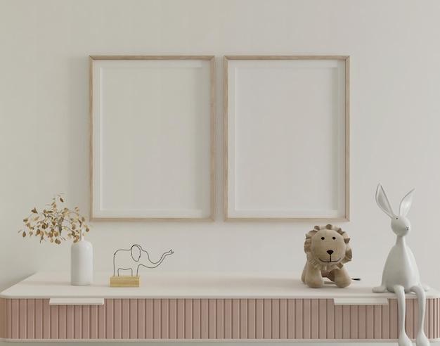 모형 포스터와 귀여운 아이 침실