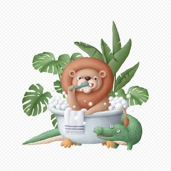 Милый лев персонаж принимает ванну рисованной изолированные