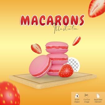 소셜 미디어 요소를 위한 커팅 보드에 딸기가 있는 귀여운 마카롱 음식 3d 그림