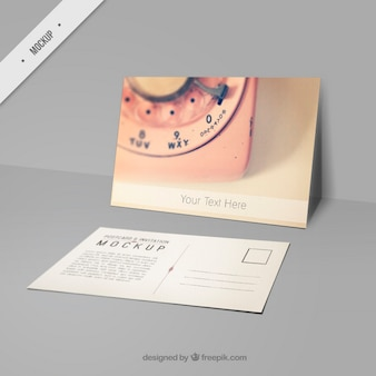 Cute mockup postcard with a picture of pink phone
