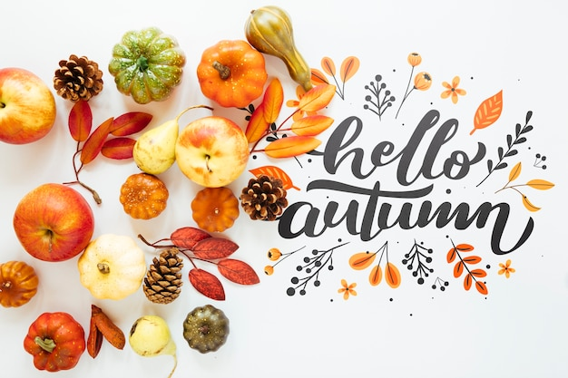 Cute natural arrangement with hello autumn quote