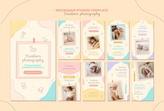 Cute newborn instagram stories template