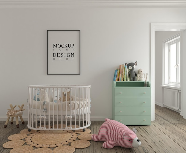 모형 포스터가있는 귀여운 보육실