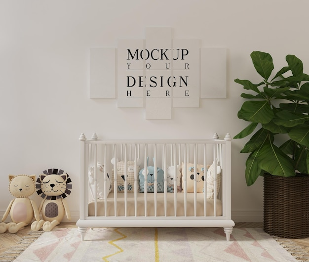 Cute nursery room with toys mockup poster