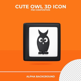 Симпатичная сова 3d рендеринг значок хэллоуин premium psd