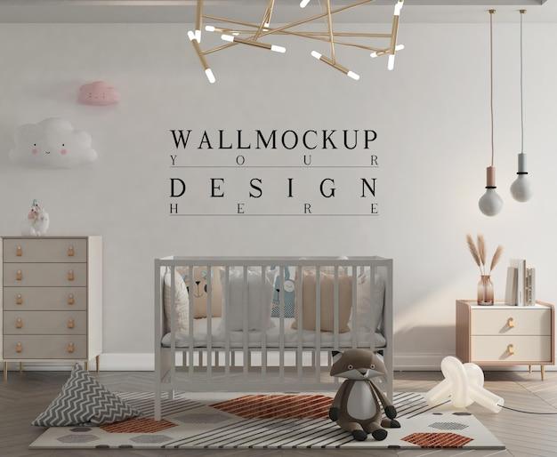 Милая пастельная детская комната с макетом стены Premium Psd