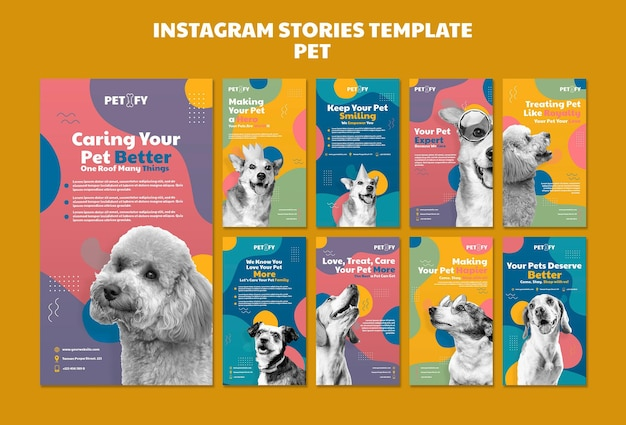 Modello di storie di instagram per animali domestici carino