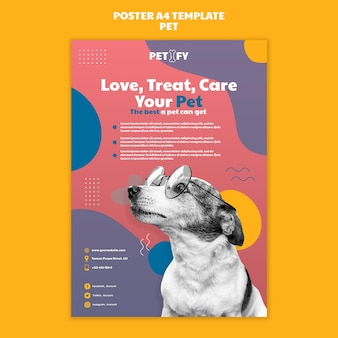 귀여운 애완 동물 포스터 템플릿