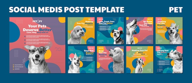 Cute pet social media post template